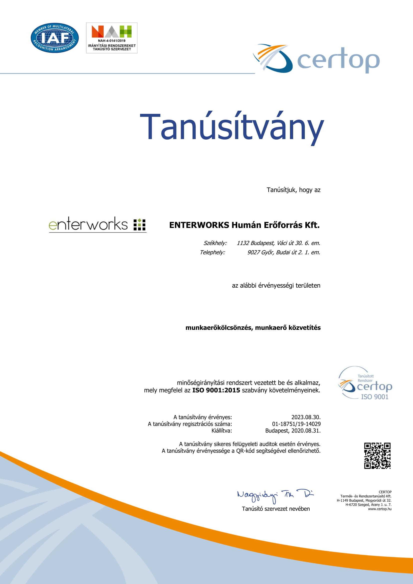 Tanusitvany HU18751 19 ISO 9001 2015 magyar 2020 08 31 1
